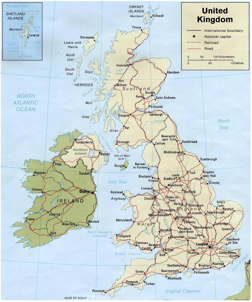 Gran Bretana   Mapa Reino Unido